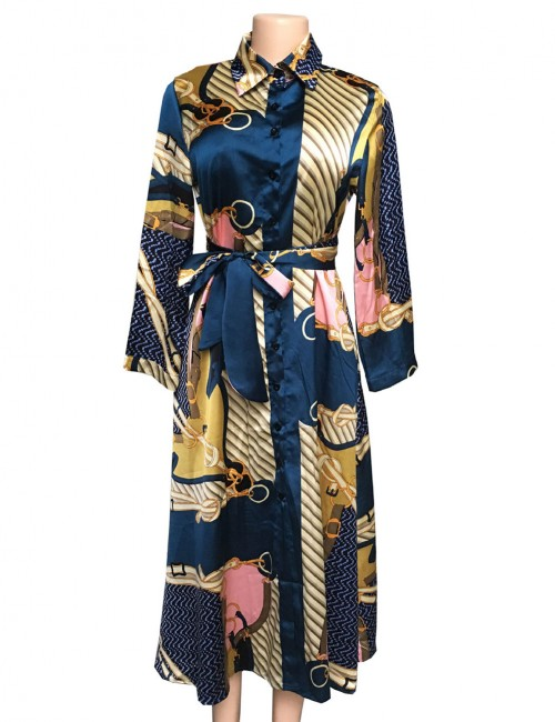Comfy Print Waist Belt Blue Satin Lapel Neck Midi Dress For Couple