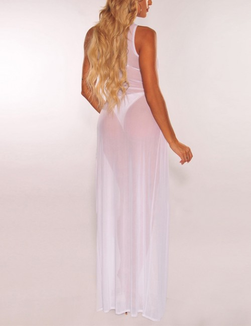 Fresh White Perspective Mesh Slit Sleeveless Maxi Dress Superior Quality