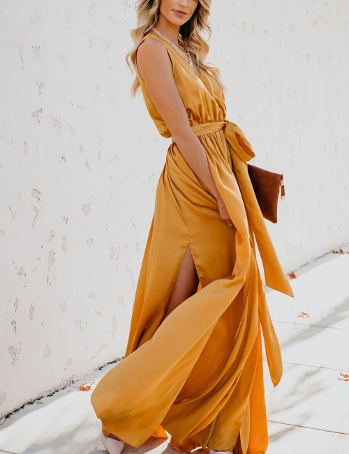 Angel Sleeveless Yellow Waist Knot Plain Maxi Dress Bohemia Fashion