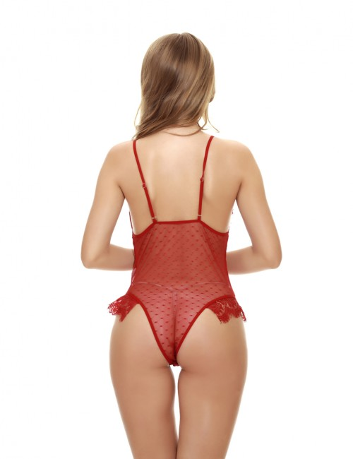Fitness Red Perspective V Neck Open Back Teddies Heartbreaker