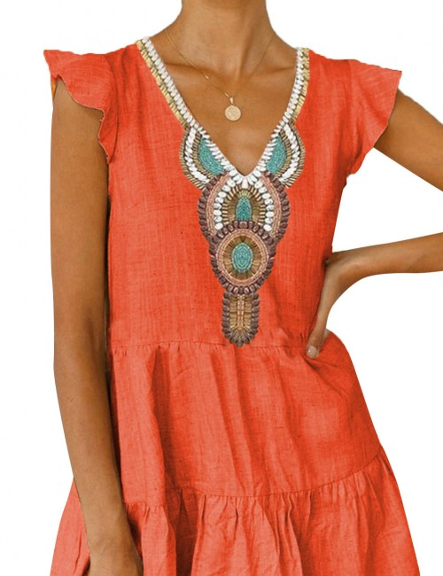 Fetching Ethnic Print Orange Flare Hem Mini Dress V Neck High Elasticity