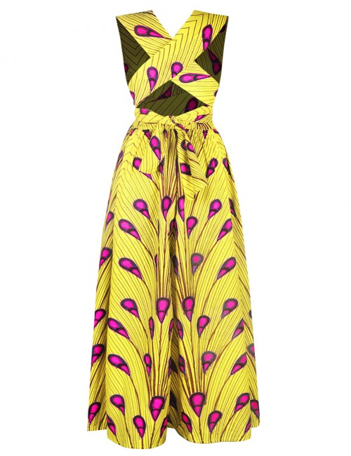 Comfort V Neck Slit Side Maxi Dress Ethnic Print Outfits