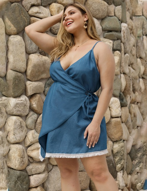 Casual Blue Wrap Tassel Tie V Neck Mini Dress Big Size Outfit