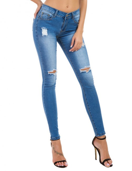 Light Blue Ripped Big Size Button Pocket Ripped Jeans Womens Clothes
