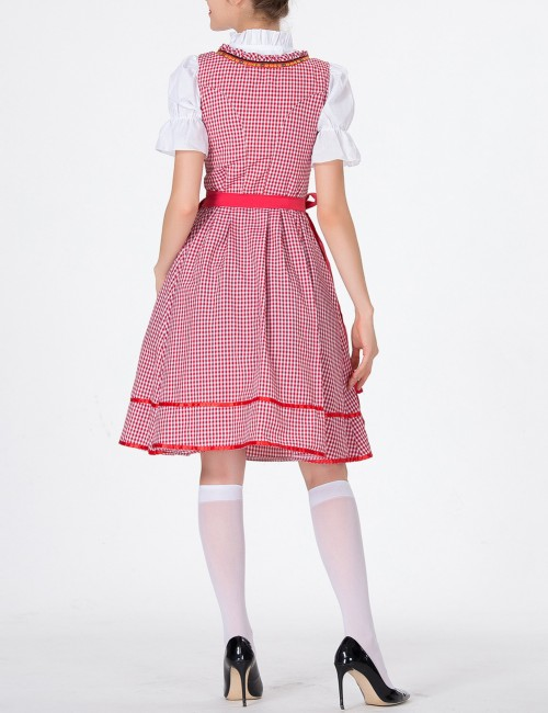 Well-Suited Red Dirndl Short Sleeve Large Size Oktoberfest Costumes Fashion