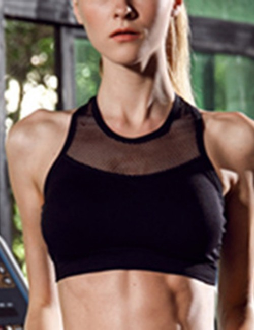 Ingenious Crew Neck Black Mesh Patchwork Sport Bra Push Up Loose