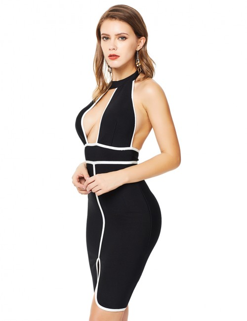 Black Contrast Piping Backless Halter Bandage Dress Zip Vacation Time