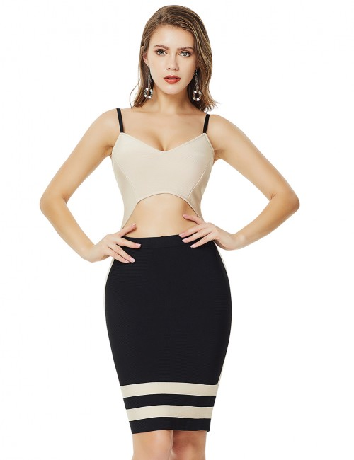 Charming Cropped Color Apricot Matching Zip V Neck Bandage Dress Garment