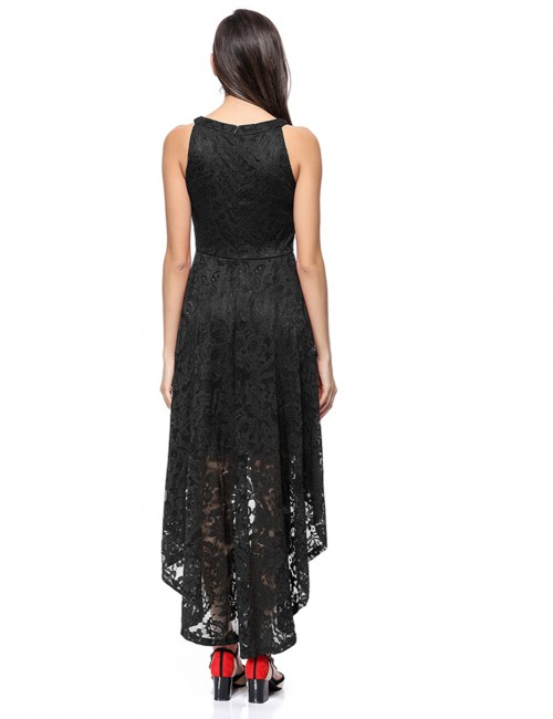 Black Zipper Lace Dvetail Hem Sleeveless Evening Dress Wholesale