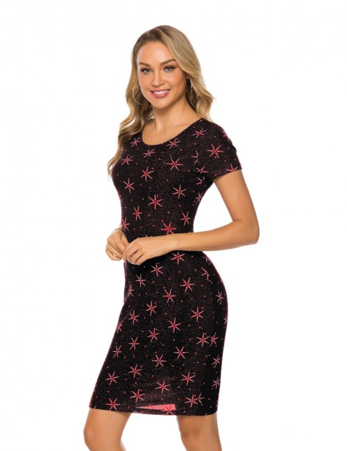 Fresh Pink Round Neck Star Printed Tight Mini Dress For Women Online