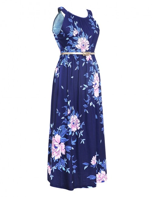 Fetching Ruched Elastic Waist Knot Midi Floral Dress Fashion Trend