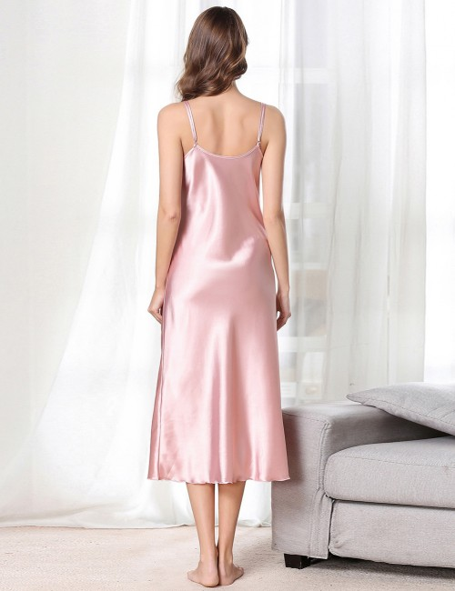 Sultry Pink Faux Silk Sling V Collar Midi Length Sleepwear High Quality