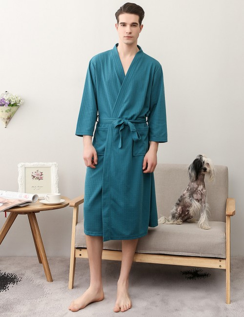 Blackish Green Long-Sleeved Cotton Men Plain Big Size Bathrobe Fit