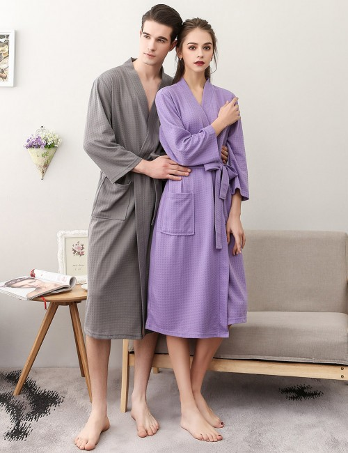 Lightweight Purple Solid Color Cotton Plus Size Bathing Robe Dissolute Midnight
