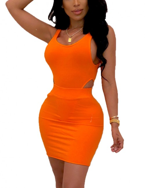 Glaring Orange Scoop Neck Tank Top And Hip Skirt Set For Traveling