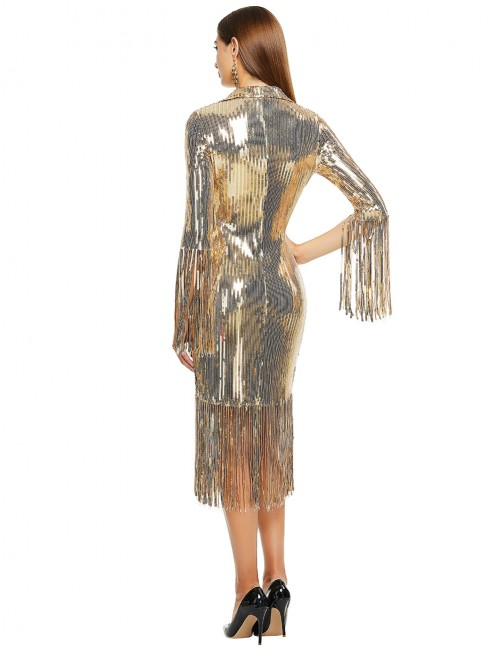 Fit Gold Fringe Suit Collar Bandage Dress Sequins For Beauty
