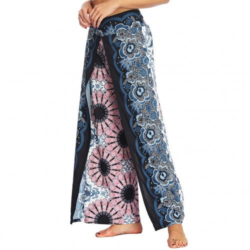 Amazing Wide Legs Pants Digital Printing High Slit Supper Fashion