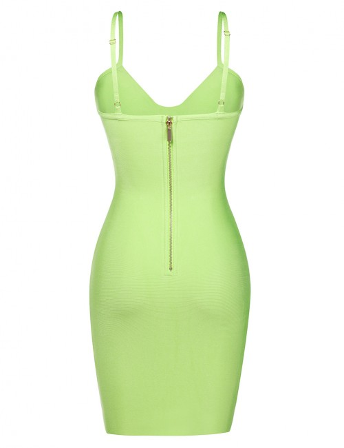 Light Green Bandage Dress U-Neck Metal Button Zipper Fabulous Fit
