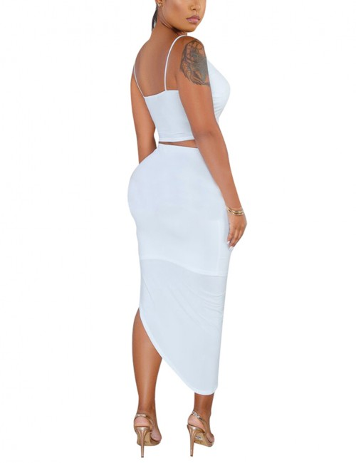 Attractive White Sling Shirring High-Low Hem Skirt Set Classic Dress