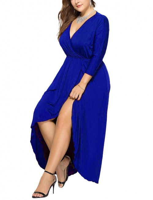 Eye-Catching Royal Blue Asymmetrical Hem Big Size Slit Dress Fashion