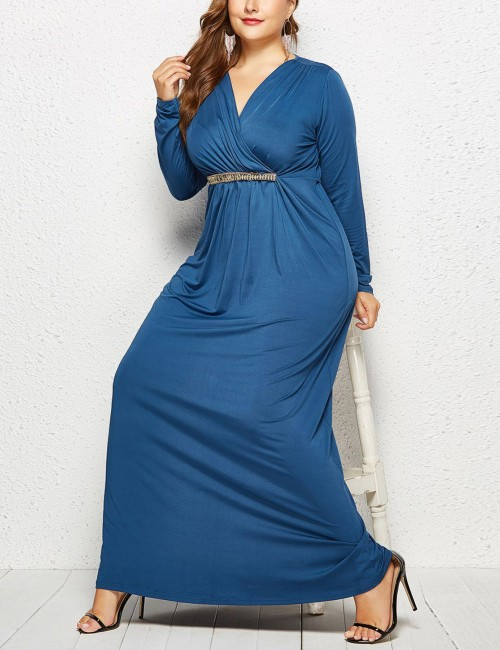 Gorgeous Blue Solid Color Large Size Floor-Length Dress Natural