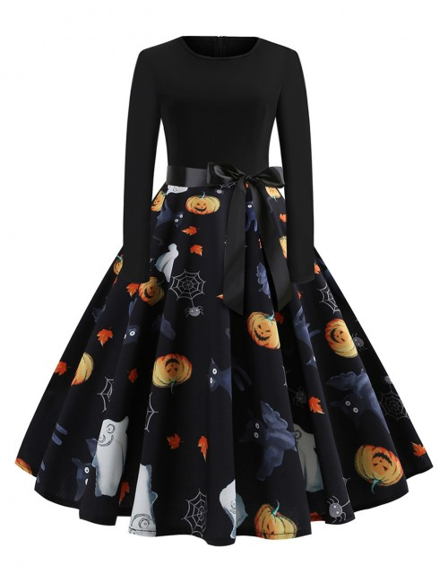 Liberty Long Sleeve Skater Dress Pumpkin Print All-Match Fashion