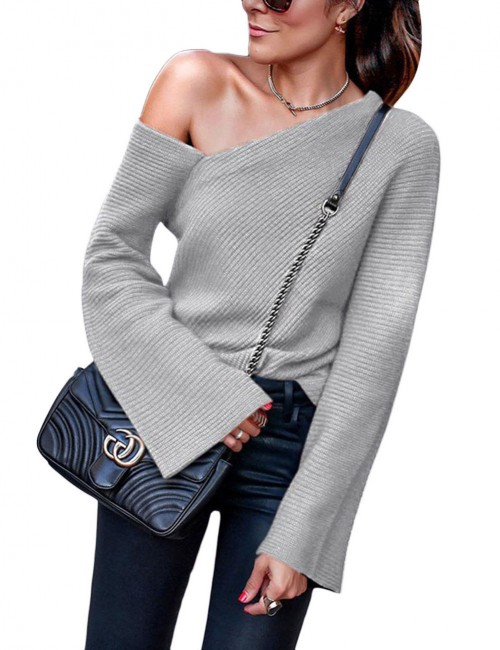 Naughty Light Gray Sweater Slanted Shoulder Long Sleeves Holiday