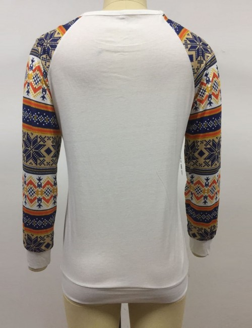 Lovely White Elk Print Long Sleeve Patchwork Sweatshirt Home Clothes
