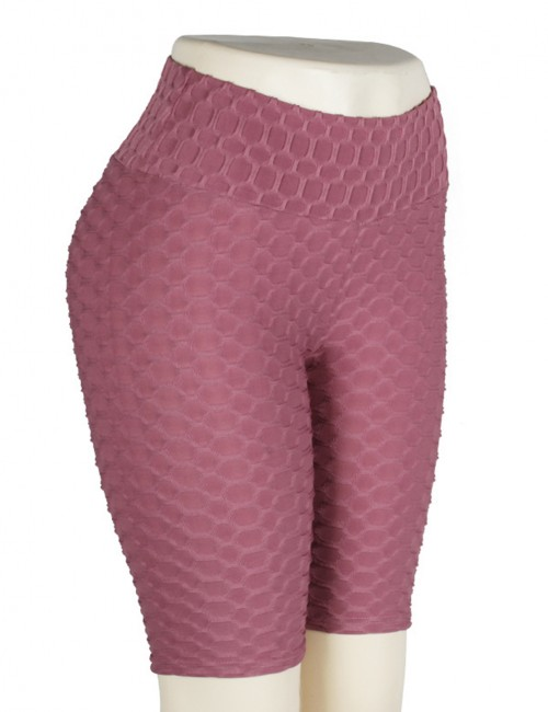 Dark Pink Solid Color Bike Gym Shorts Jacquard Weave Stretched