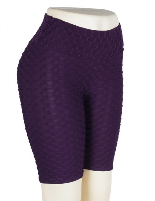 Airy Purple Gym Shorts Jacquard Tight High Waist Stretch