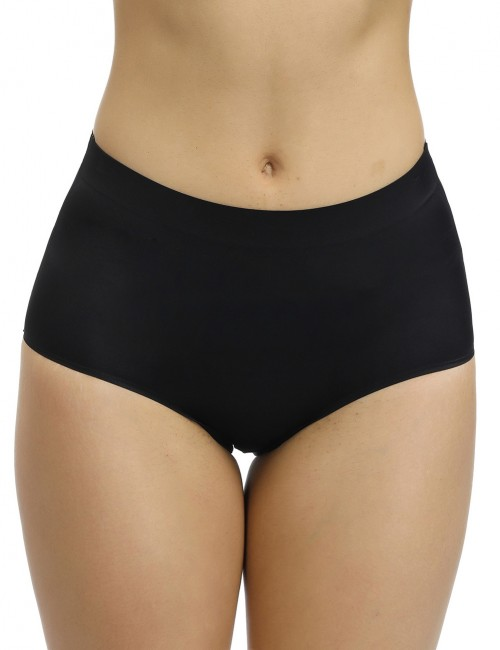 Slender Black Solid Color High Elastic Butt Enhancer Panty Tummy Control
