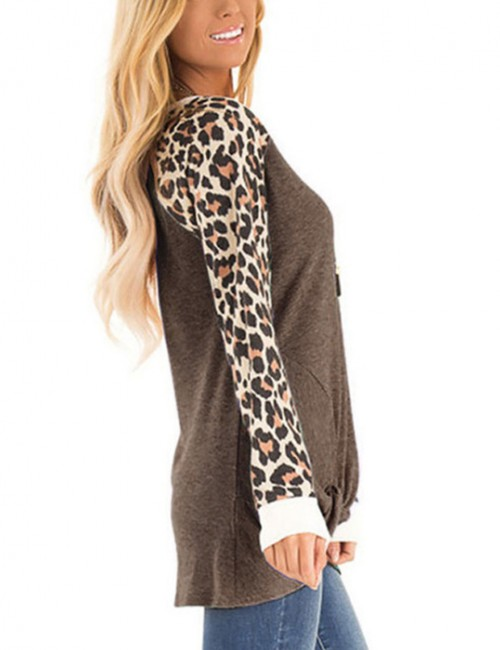 Attractive Brown Long Sleeves Leopard Patchwork Sweatshirt Casual Clothing