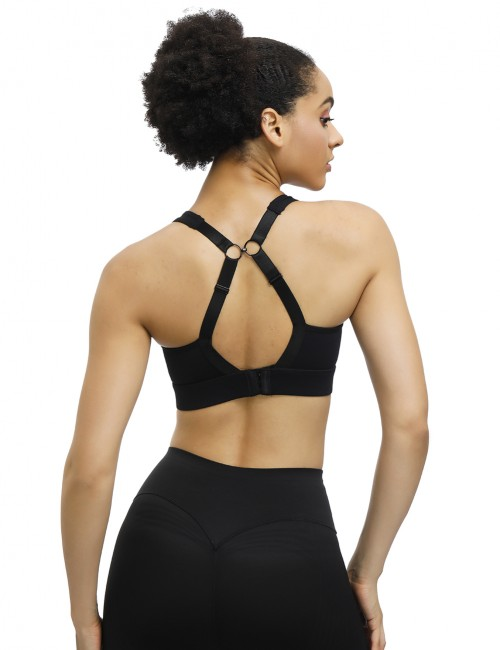 Black Wide Straps Adjustable Buckle Sports Bra Feminine Fashion Style