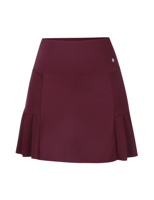 Alluring Jujube Red A-Line Zip At Back Pocket Pleated Skirt Best Workout