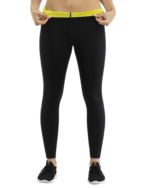 Moderate Control Black Neoprene Shapewear Pants Slimming Thighs