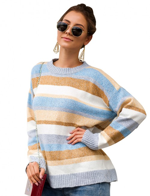 Light Blue Round Neck Stripe Full Sleeve Knit Sweater Newest Fashion