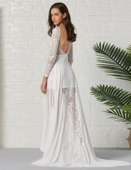 Angel White Lace Open Back Hollow Out Evening Dress Ladies Elegance
