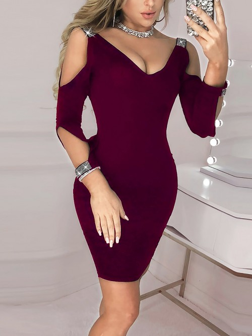 Fantastic Wine Red Glitter Bodycon Dress Open Back Straps Classic