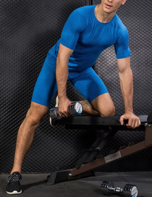 Fit Blue Running T-Shirts Solid Mesh Short Sleeve Kinetic Fashion