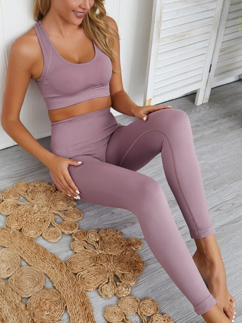 Fitness Light Purple U-Neck Crop Top High Waist Running Leggings