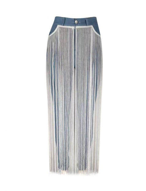 Magical Blue Long Fringe Solid Color Tight Jeans Lightweight