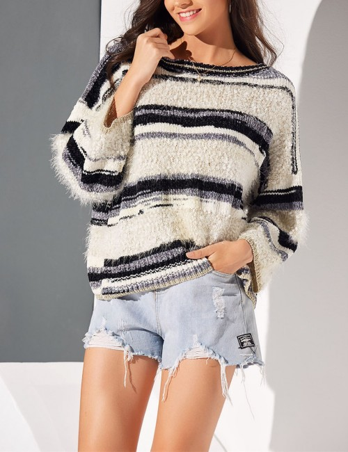 Awesome Gray Wide Cuff Stripe Round Neck Sweater High Quality