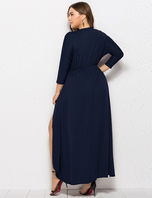 Noticeable Blue Plus Size Dress Smocked Waistline V-Neck Sale Online