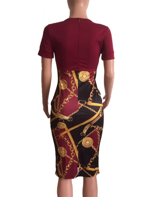 Fabulous Wine Red Waist Knot Print Patchwork Bodycon Dress Gentle Fabric