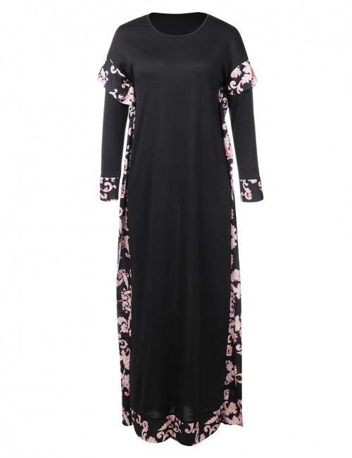 Black Loose Straight African Printing Floral Women Maxi Dress For Vacation