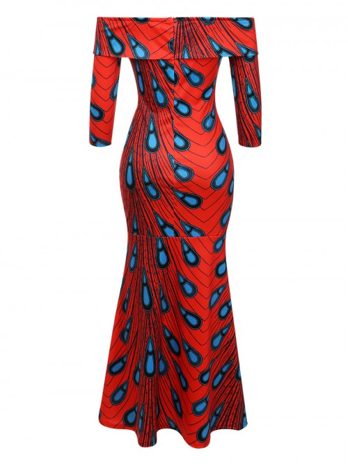 Fashion Slim-Fit High Slit African Midi Dress