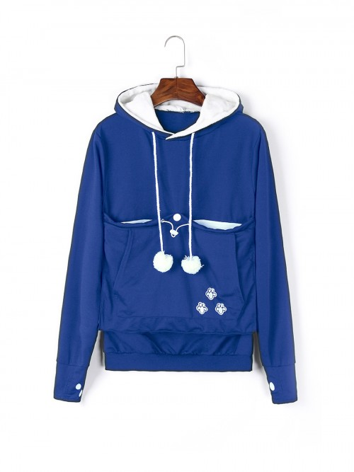 Glamorous Blue Hoodie Top Solid Color Long Sleeve Svelte Style