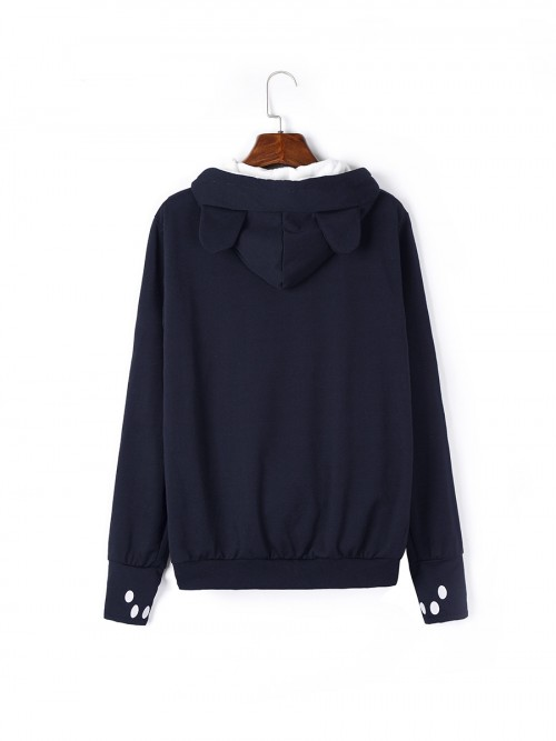 Flirtatious Dark Blue Plain Full Sleeve Hoodie Top Drawstring