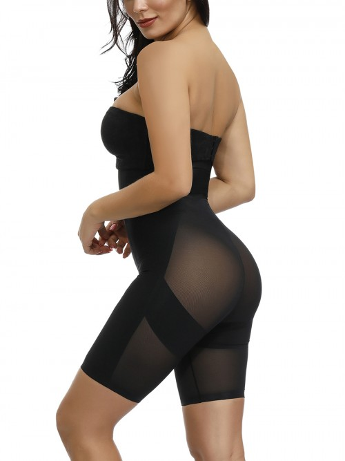 Compression Silhouette Black Sheer Mesh Large Size Butt Lift Shapewear Pants