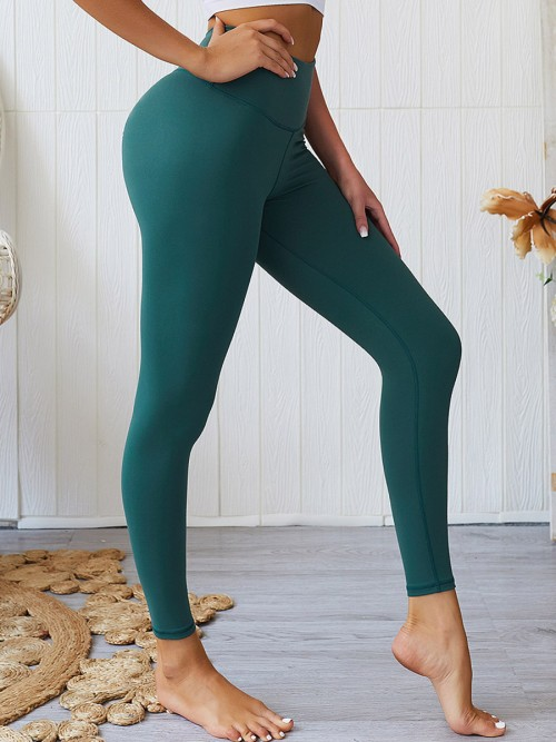 Modern Fit Blackish Green Sports Leggings High Rise Ruched Sport Series